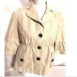 Ann Taylor Button Up Crop Jacket Beige Sz SP